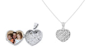 Patterned Heart Locket Pendant Necklace