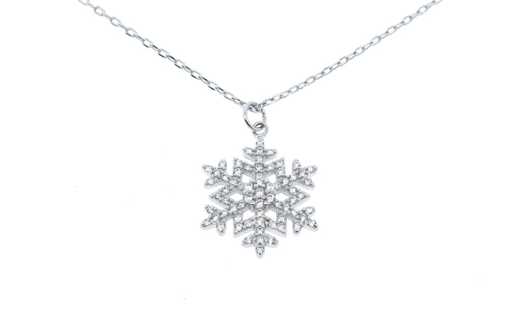 Crystal Snowflake Drop Pendant in 18K White Gold