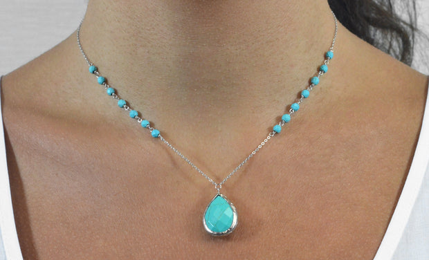 10.00 CTW Beaded Gemstone Drop Necklace