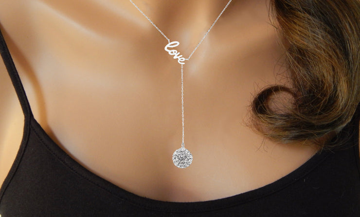 Crystal Love Y Necklace in Sterling Silver