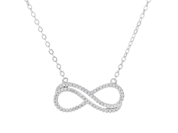 18K White Gold Plated Double Infinity Necklace