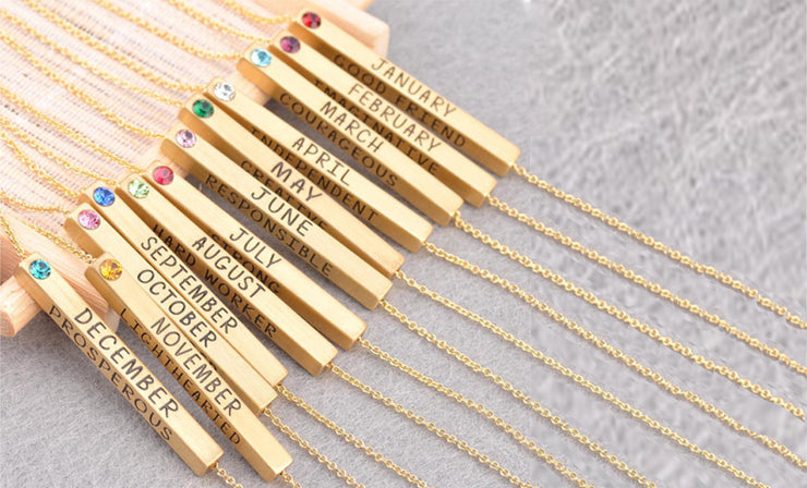 Birthstone Engraved Reversible Bar Necklace
