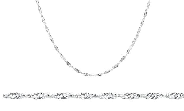 Italian Singapore Chain in Solid Sterling Silver