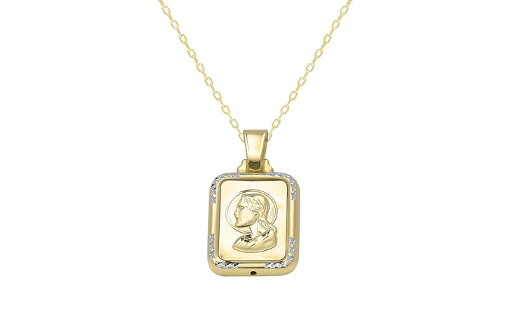 Sterling Silver Square Jesus Charm Necklace