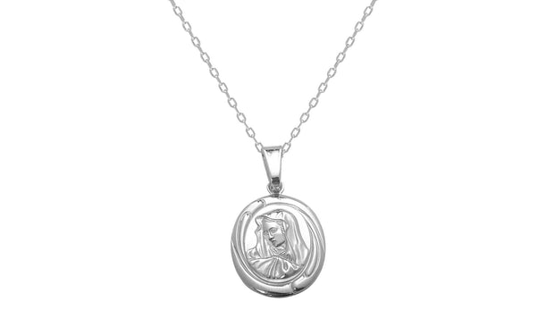 Sterling Silver Miraculous Portrait Charm Necklace