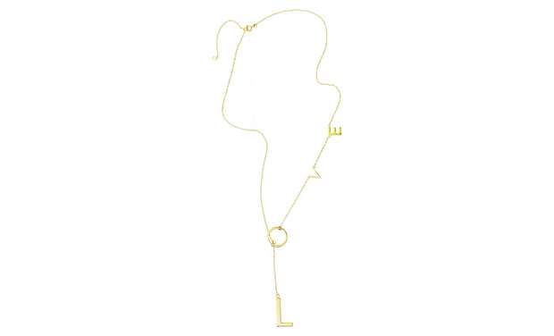 Love Lariat Necklace in 14K Gold Plated