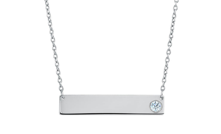 Crystal Bar Necklace in Sterling Silver