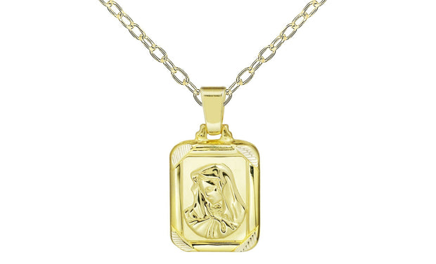 Sterling Silver Square Miraculous Portrait Charm Necklace