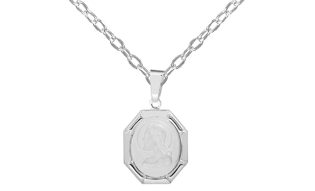 Sterling Silver Profile Jesus Charm Necklace