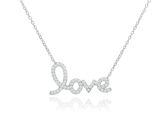 Sterling Silver Script Love Necklace