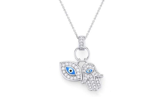 Classic Evil Eye and Hamsa Pendant Necklace in Sterling Silver