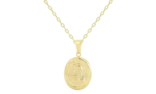 Sterling Silver Oval Profile Jesus Charm Necklace