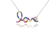 Rainbow Script Love Crystal Necklace
