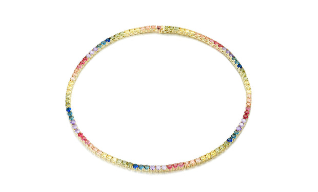 42.00 CTTW Crystal Rainbow Tennis Necklace in Sterling Silver