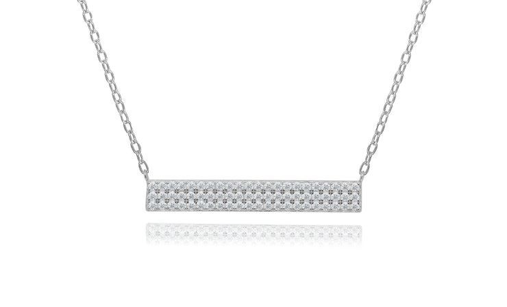Sterling Silver Dazzling Crystal Bar Necklace
