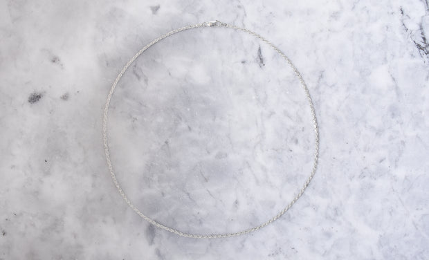 Sterling Silver 2mm Rope Chain Necklace