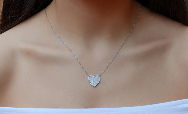 Flat Pave Heart Necklace
