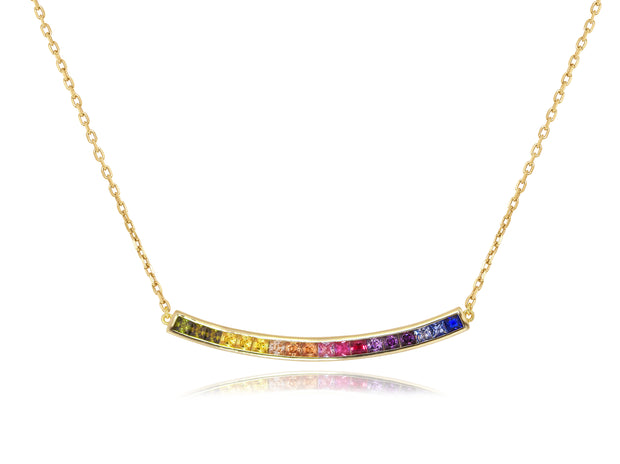 Curved Rainbow Bar Necklace