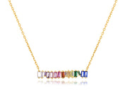Clustered Rainbow Baguette Bar Necklace