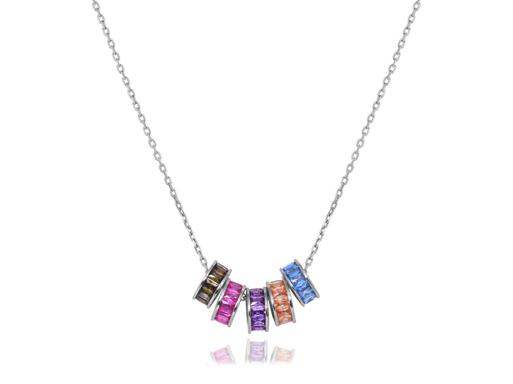 Multi Colored Loose Rings Necklace