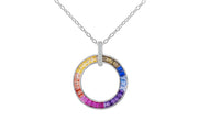 Sterling Silver Rainbow 'Circle of Life' Necklace