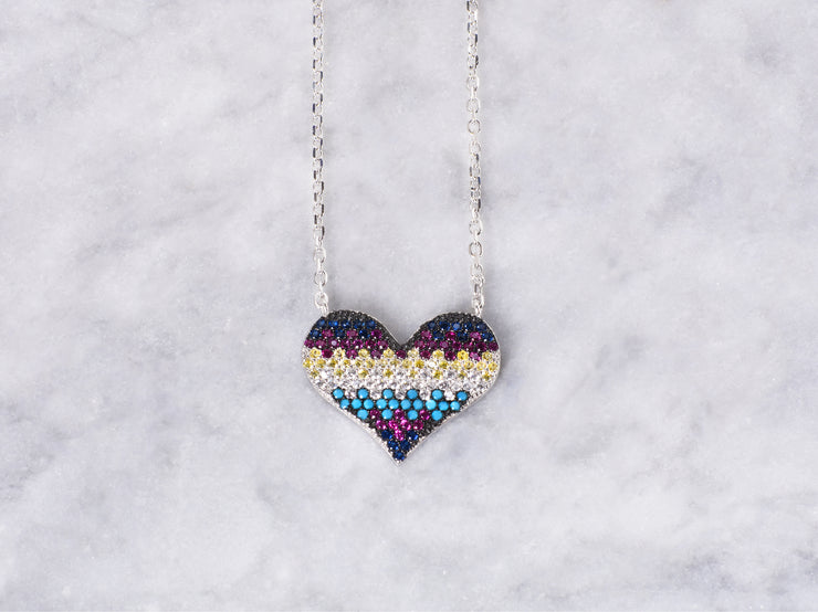 Dark Multi Colored CZ Heart Necklace