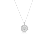 Crystal Pave Disc Initial Pendant Necklace