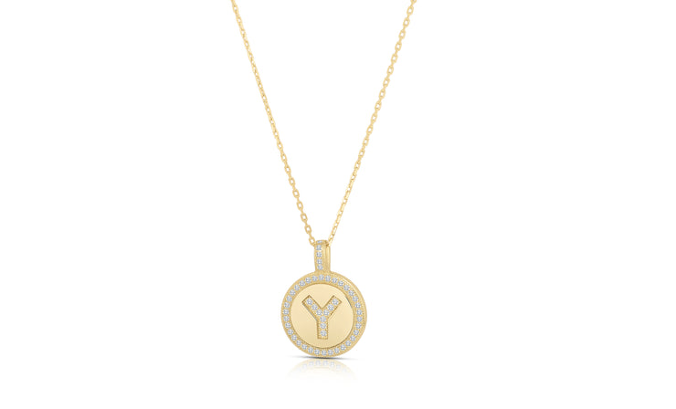 Crystal Round Disc Initial Pendant Necklace in 14K Gold Plated
