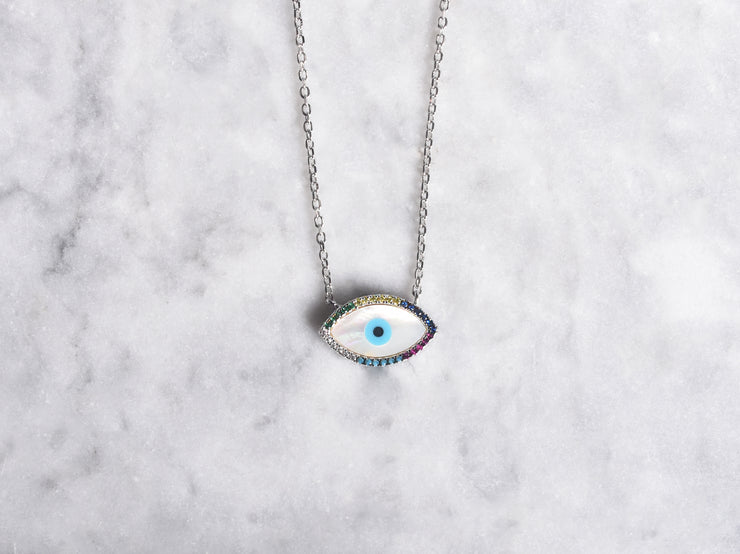 Mother of Pearl And CZ Eye Necklace