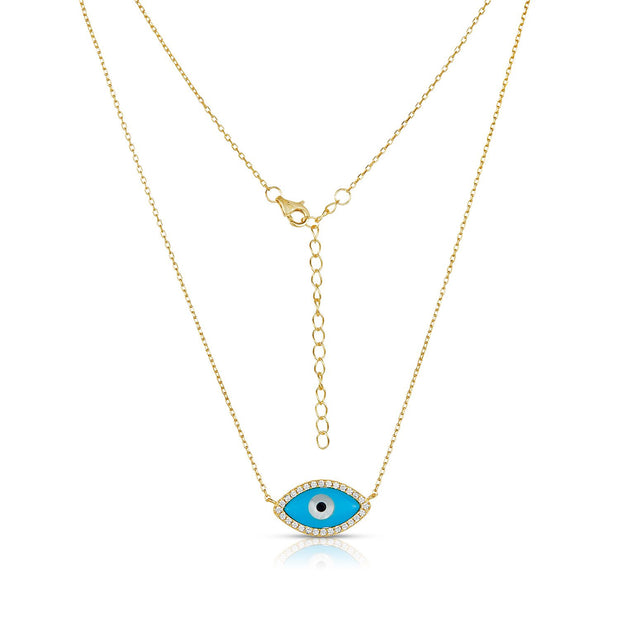 Elegant Enameled Turquoise Evil Eye Necklace