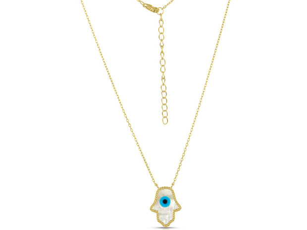 Mother of Pearl Hamsa Pendant Necklace