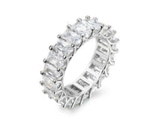 5MM Emerald Cut Eternity Band in Sterling Silver