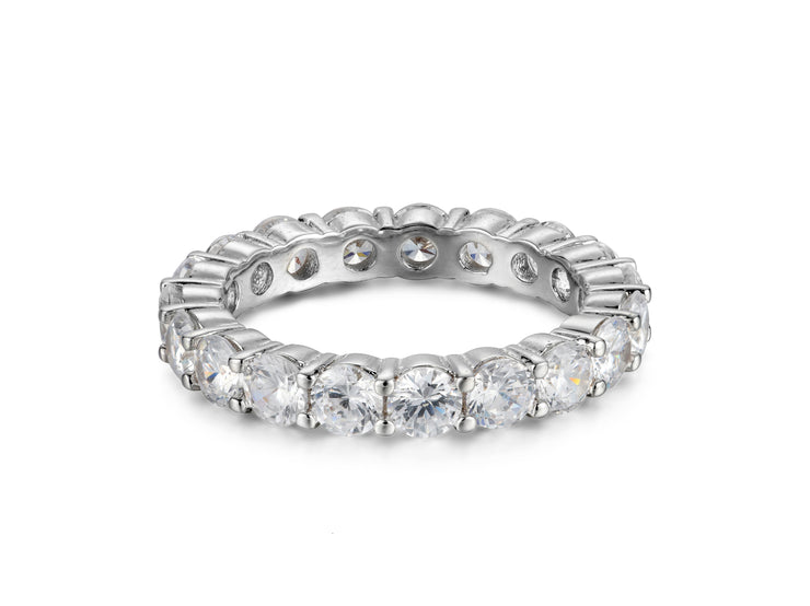 5 CTTW Sterling Silver Round Cut Eternity Band