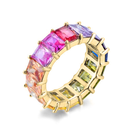 Rainbow Emerald Eternity Band