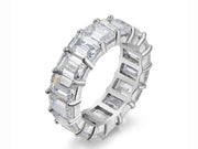 6MM Emerald Cut Eternity Band in Sterling Silver