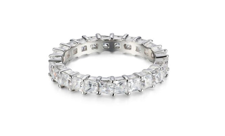 Sterling Silver 2.5MM Princess Eternity Band