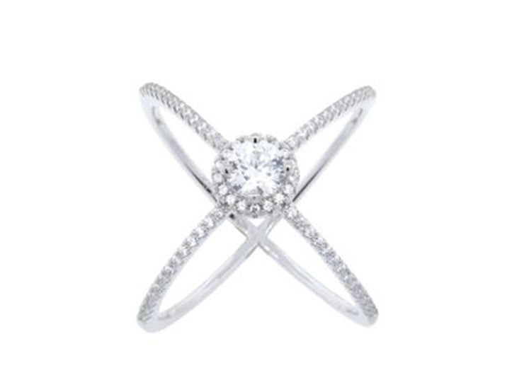 Crystal Pavé Halo X Ring in Sterling Silver