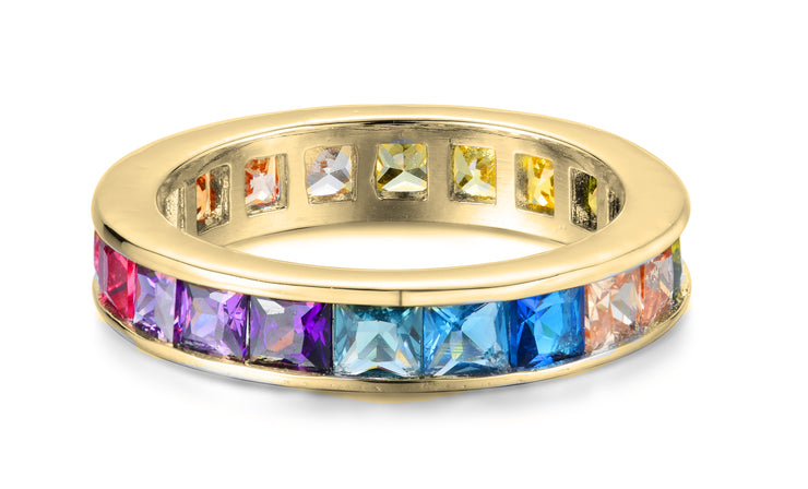 Rainbow Princess Bezel Set Eternity Band
