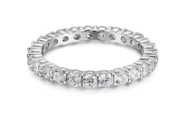3 CTTW Round Eternity Bands in Sterling Silver