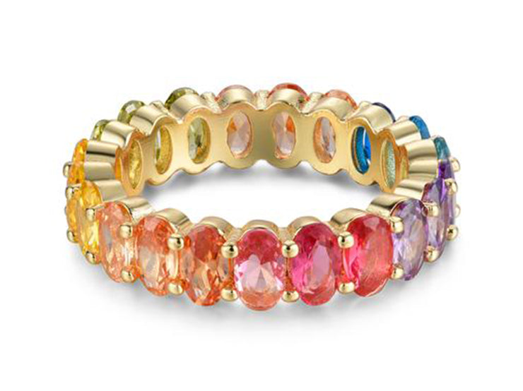 7 CTTW Oval Cut Rainbow Eternity Band
