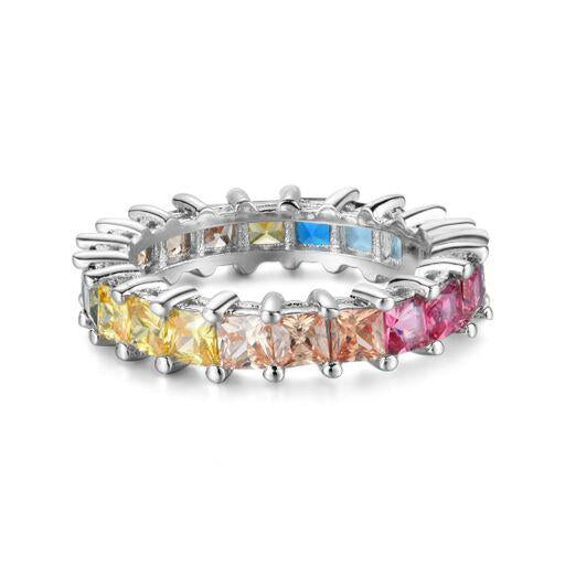Princess Cut Rainbow Eternity Band in Sterling Silver