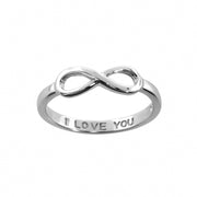 'I Love You' Infinity Rings in Sterling Silver