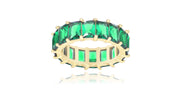 14K Gold Plated Solid Colored Emerald Eternity Bands