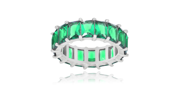 Solid Colored Emerald Eternity Bands