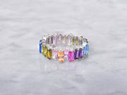 Rainbow Clustered Baguette Ring