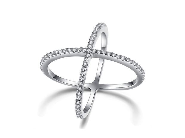Cubic Zirconia Pave X Ring
