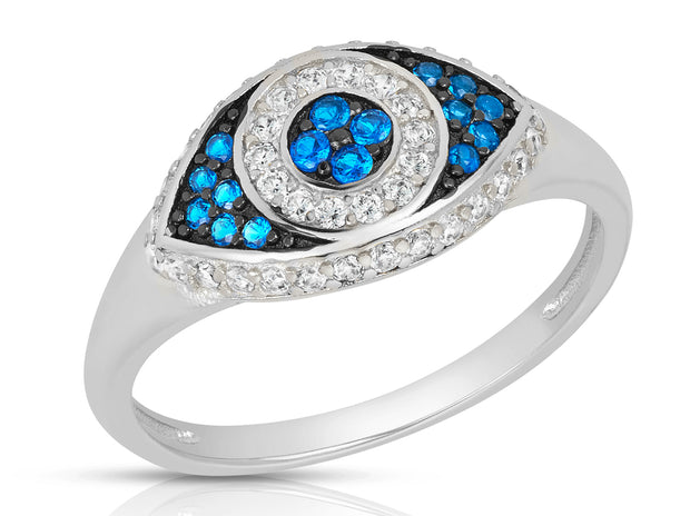 Sterling Silver Evil Eye Statement Ring