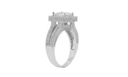 18K White Gold Plated Double Row Princess Engagement Ring