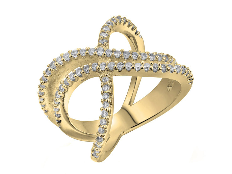 Double X Ring Made with Crystals