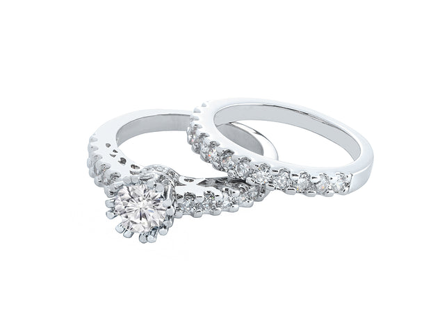 Crown Prong Two Piece Ring Set